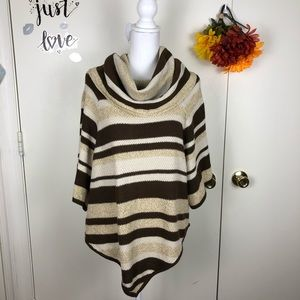 NEW DIRECTIONS WEEKEND STRIPED COWL NECK SWEATER S